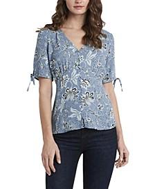 Women's Short Sleeve Antique Like Floral V-Neck Blouse