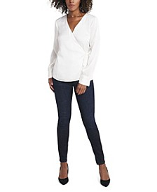 Women's Long Sleeve Side Tie Wrap Top