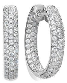 Arabella Sterling Silver Swarovski Zirconia Pave Hoop Earrings (8-1/2 ct. t.w.)