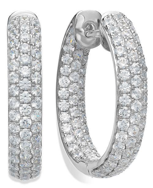 Macy's Arabella Sterling Silver Swarovski Zirconia Pave Hoop Earrings (8-1/2 ct. t.w.)