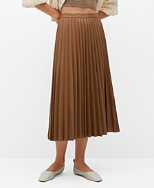 Women's Faux-Leather Pleated Skirt