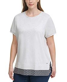 Plus Size Daisy Woven-Hem T-Shirt