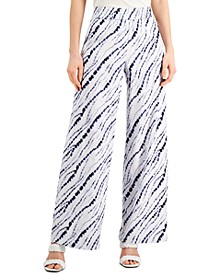 INC Petite Earth Printed Pull-On Wide-Leg Pants, Created for Macy's