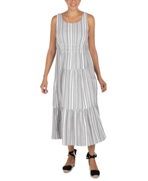 Robbie Bee Cotton Tiered Maxi Dress In Ivory