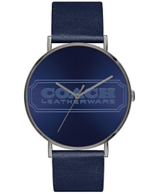 Men's Charles Navy Leather Strap Watch 41mm