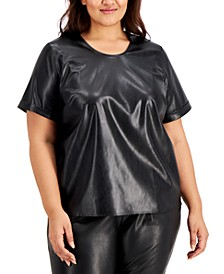 Plus Size Faux-Leather Top, Created for Macy's