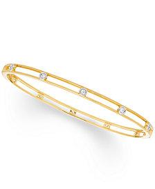 Diamond Bezel Bangle Bracelet (1/4 ct. t.w.) in 10K White , Yellow Or Rose Gold