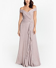 Off-The-Shoulder Metallic-Knit Gown