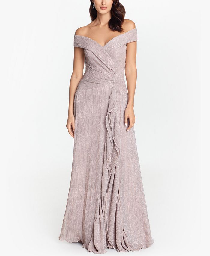 XSCAPE - Off-The-Shoulder Metallic-Knit Gown