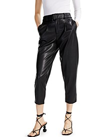 INC Faux-Leather Cropped Pants, Created for Macy's