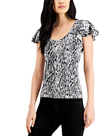 INC Ruffled Snake-Embossed Top, Created for Macy's