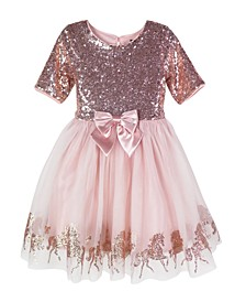 Little Girls Sequins Unicorn Border Dress