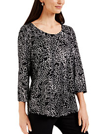 JM Collection Metallic-Print Top, Created for Macy's