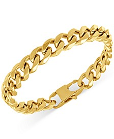 Men's Polished Cuban Link Bracelet in Yellow Ion-Plated Stainless Steel