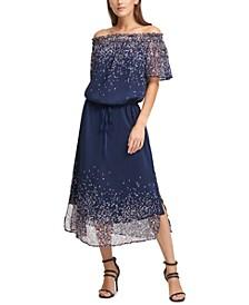 Printed Ruched Off-The-Shoulder Dress
