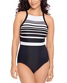 Insta-Stripe High-Neck One-Piece Swimsuit