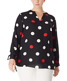 Plus Size Dot-Print Split-Neck Blouse