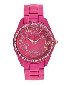 Women's Color Spray Hot Pink Metal Bracelet Watch 40mm