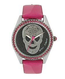 Women's Skull Pink Leather Strap Watch 40mm