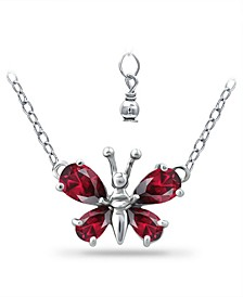 Created Ruby Butterfly Necklace