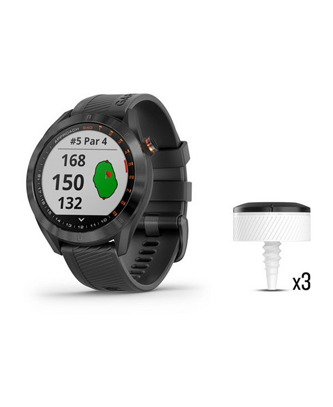 Garmin Unisex Approach S40 Black Silicone Strap Touchscreen Smart Watch 32mm Gift Set