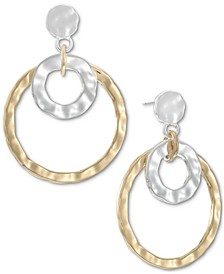 Two-Tone Double Hammered Link Drop Earrings, Created for Macy's
