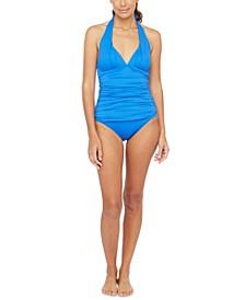 Halter Tankini Top & Shirred Banded Hipster Bikini Bottoms
