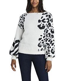 Women's Petite Zebra Jacquard Eyelash Knit Sweater