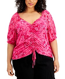 INC Plus Size V-Neck Ruched-Front Top, Created for Macy's