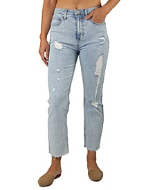 Juniors' Slim Straight Cropped Jeans