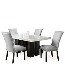 Camila Rectangle Dining Table and Silver Dining Chair 5-Piece Set, Created for Macy's
