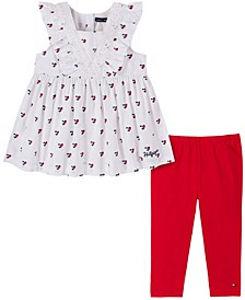 Little Girls Hearts Printed Poplin Tunic with Legging, Two Piece Set