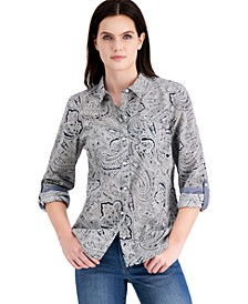Cotton Paisley Roll-Tab Shirt