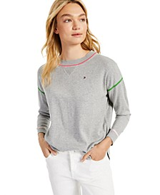 Cotton Contrast-Trim Sweater