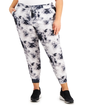 Ideology Leggings PLUS SIZE TIE-DYED JOGGER PANTS, CREATED FOR MACY'S