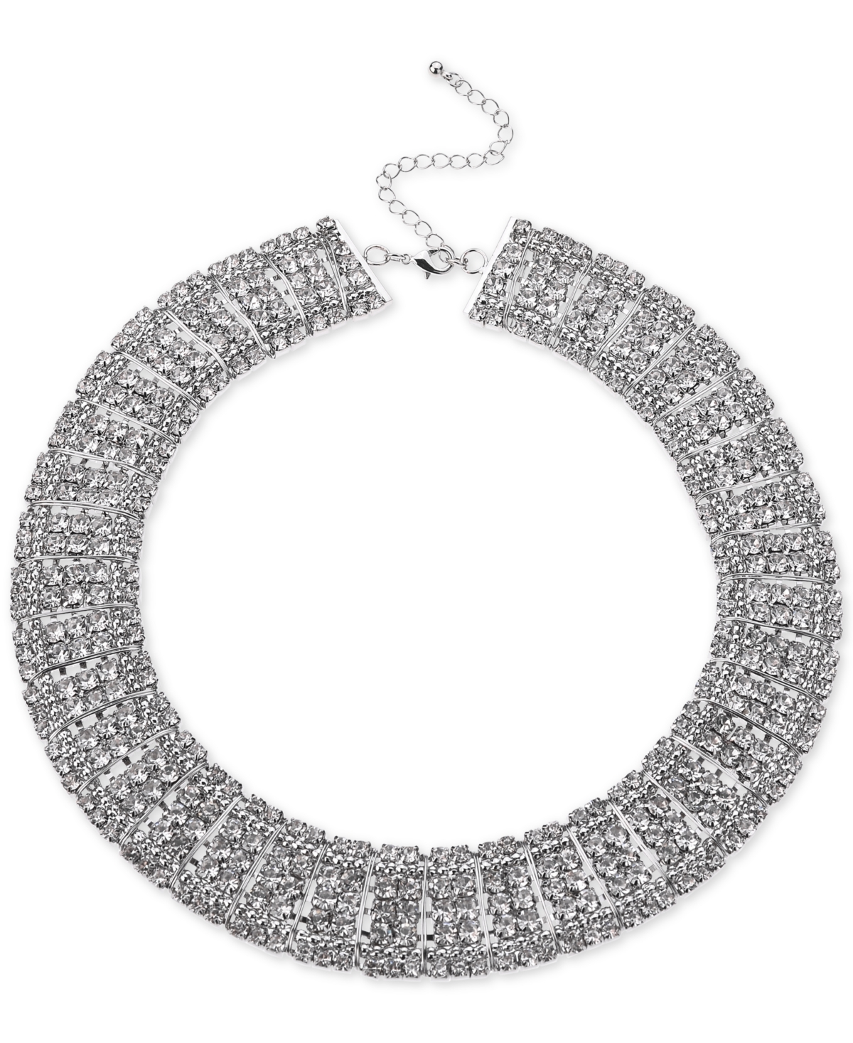 Inc International Concepts Silver-Tone Crystal Multi-Row Choker Necklace, 12-1/2
