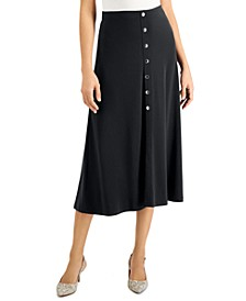 Petite Button Front Midi Skirt, Created for Macy's