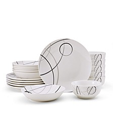 Studio Nova Circles 18 Piece Dinnerware Set, Service for 6