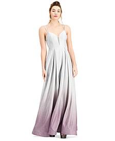 Juniors' Strappy-Back Ombré Sparkle Gown