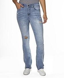 Juniors' Hi Rise Vintage-Like Wash Destructed Slim Boot Jeans