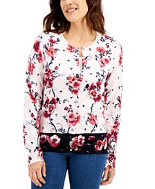 Border Floral-Print Cardigan, Created for Macy's