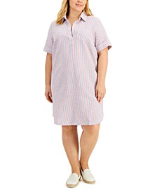Plus Size Collared Seersucker Dress, Created for Macy's
