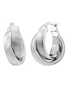 Polished Crossover Hoop Earrings in 14K White Gold