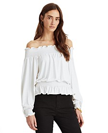 Off-The-Shoulder Balloon Sleeve Top