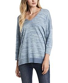 Women's Plus Size Dolman Sleeve Space Dye V-Neck Top
