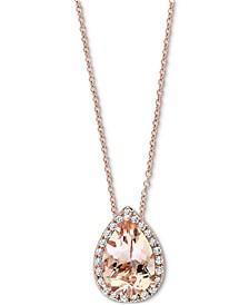"EFFY® Morganite (2-1/6 ct. t.w.) & Diamond (1/10 ct. t.w.) 18"" Pendant Necklace in 14k Rose Gold"