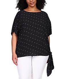 Plus Size Bias-Stripe Side-Tie Top