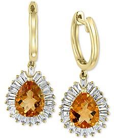 EFFY® Citrine (3-1/20 ct. t.w.) & Diamond (3/4 ct. t.w.) Drop Earrings in 14k Gold