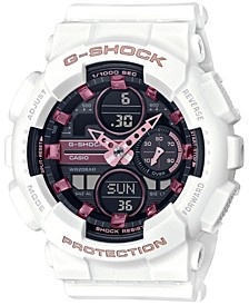 Women's White and Pink Analog Digital Resin Strap Watch 45.9mm