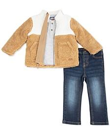 Baby Boys 3-Pc. Faux-Sherpa Jacket, Henley Shirt & Stretch Jeans Set